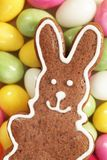 Gingerbread bunny. Close-up of gingerbread bunny and candy eggs royalty free stock images