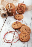 Gingerbread buttons traditionak christmas cookies Royalty Free Stock Photo