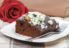 Gingerbread cake with chocolate and hazelnuts Royalty Free Stock Image