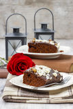 Gingerbread cake with chocolate and hazelnuts Royalty Free Stock Photo