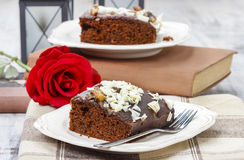 Gingerbread cake with chocolate and hazelnuts Royalty Free Stock Photos