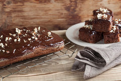Gingerbread cake with chocolate and hazelnuts Stock Photos