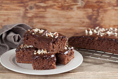 Gingerbread cake with chocolate and hazelnuts Stock Images