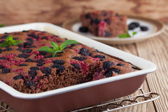 Gingerbread cake with mulberries and red currants. Shallow dof royalty free stock image