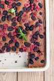 Gingerbread cake with mulberries and red currants Royalty Free Stock Photography