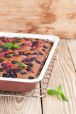 Gingerbread cake with mulberries and red currants Royalty Free Stock Photo