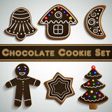 Gingerbread chocolate cookie set royalty free illustration