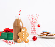 Gingerbread and chocolate milk on Christmas Royalty Free Stock Photography