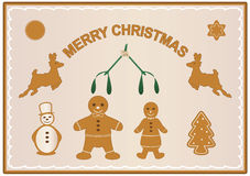 Gingerbread christmas. Vector illustration of merry christmas scene with gingerbread items Stock Image