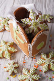 Gingerbread Christmas bag with snowflakes on a table. vertical Stock Photography