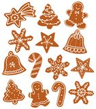Gingerbread Christmas biscuits several forms royalty free illustration
