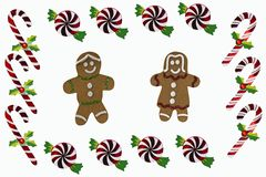 Gingerbread and Christmas Candy border Stock Images
