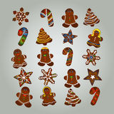 Gingerbread Christmas colorful set Cookies, vector illustration Royalty Free Stock Photography