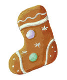 Gingerbread christmas cookie boot shaped. Acrylic illustration of gingerbread christmas cookie boot shaped royalty free illustration
