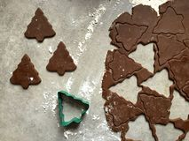 Gingerbread Christmas cookie dough rolled and cut into tree shapes Stock Images