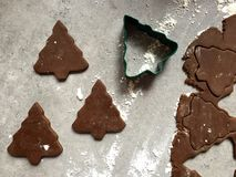 Gingerbread Christmas cookie dough rolled and cut into tree shapes Royalty Free Stock Photography