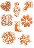 Gingerbread christmas cookies. On white background Stock Images