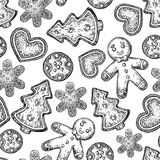 Gingerbread Christmas cookies seamless pattern decorated with ic Royalty Free Stock Photo