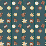 Gingerbread Christmas cookies seamless pattern. Illustration of traditional christmas pastries - snowflakes, trees, stars Stock Photo