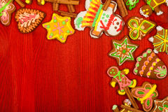 Gingerbread, Christmas cookies, top view, red back Royalty Free Stock Photography
