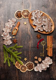 Gingerbread, Christmas decorations and spices for baking. Stock Images