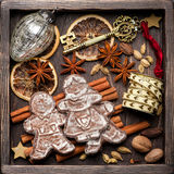 Gingerbread, Christmas decorations and spices for baking. Royalty Free Stock Image