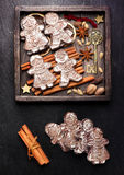 Gingerbread, Christmas decorations and spices. Royalty Free Stock Photography