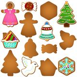Gingerbread (Christmas festival biscuit - cookie). A colorful set of Vector Icons : Gingerbread (Christmas festival biscuit - cookie stock illustration