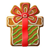 Gingerbread christmas gift decorated colored icing Royalty Free Stock Image