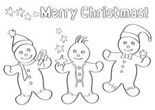 Gingerbread Christmas men kid's scrap-booking. Three Gingerbread Christmas men to be coloured, for children scrap-booking, only black outline Royalty Free Stock Photography