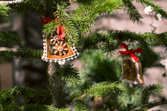 Gingerbread Christmas ornaments on tree Stock Photo