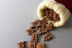 Gingerbread and christmas sock stock image