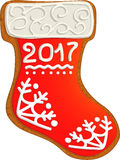 Gingerbread Christmas sock Stock Photography