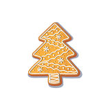 Gingerbread christmas spruce tree cookie vector. Illustration on a white background. New year baked candy cartoon sweet cake Traditional winter holiday home Royalty Free Stock Images
