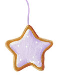 Gingerbread christmas star cookie. Acrylic illustration of gingerbread christmas star cookie stock illustration