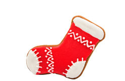 Gingerbread Christmas stocking. On a white background stock image