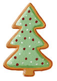 Gingerbread christmas tree cookie. Acrylic illustration of Gingerbread christmas tree cookie vector illustration