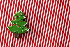 Gingerbread christmas tree cookie stock photo