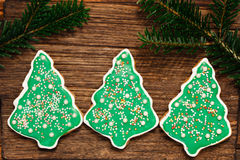 Gingerbread Christmas tree cookies Royalty Free Stock Photography