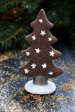 Gingerbread Christmas tree on a dark background, vertical Stock Images