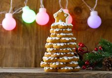 Gingerbread Christmas tree for decoration and desser. T for the holiday royalty free stock photography