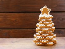 Gingerbread Christmas tree for decoration and desser. T for the holiday stock photos
