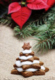 Gingerbread christmas tree. Delicious xmas dessert. And decoration Stock Images