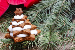 Gingerbread christmas tree. Delicious xmas dessert. Festive decoration Royalty Free Stock Image