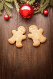 Gingerbread Christmas tree and gift Royalty Free Stock Image