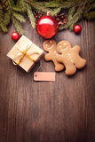 Gingerbread Christmas tree and gift Stock Photos