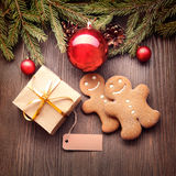 Gingerbread Christmas tree and gift Royalty Free Stock Photography
