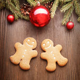 Gingerbread Christmas tree and gift Stock Photo