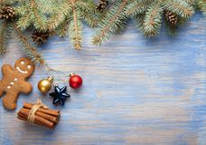 Gingerbread Christmas tree and gifts on table Royalty Free Stock Photo