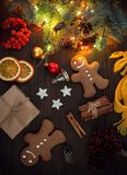 Gingerbread Christmas tree and gifts on table top view. Gingerbread Christmas tree and gifts on wooden table top view Stock Images